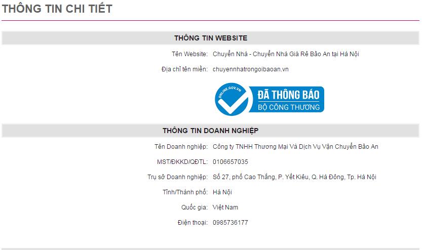 bao an chinh thuc dang ky website vơi bo thong tin va truyen thong