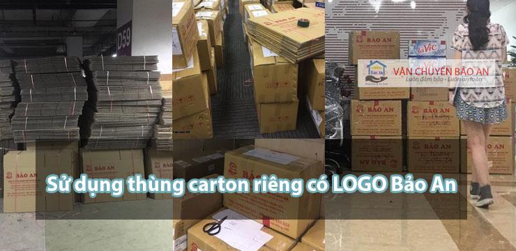 Sử dụng thùng cartong dành riêng cho việ chuyển nhà, văn phòng có logo Bảo An