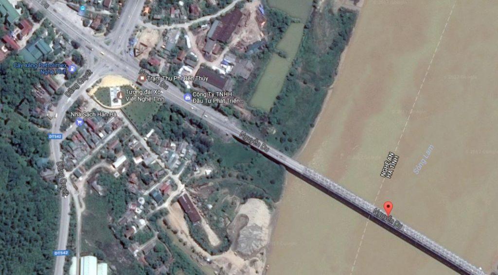 Hình ảnh trạm thu phí cầu Bến Thủy (Ảnh Google Maps)