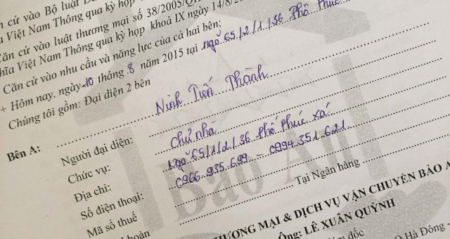 Khách hàng Ninh Tiến Thành tại Đống Đa, Hà Nội