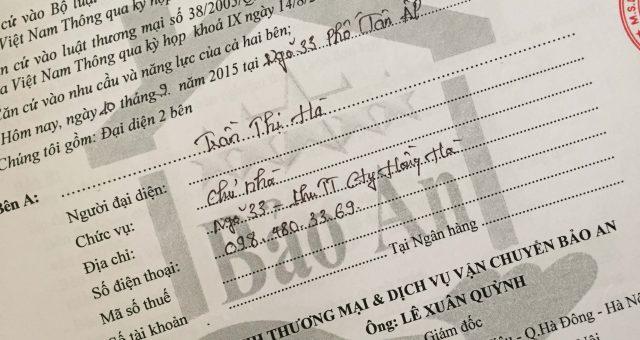 Khách hàng Trần Thị Hà tại TT Hồng Hà, Hà Nội