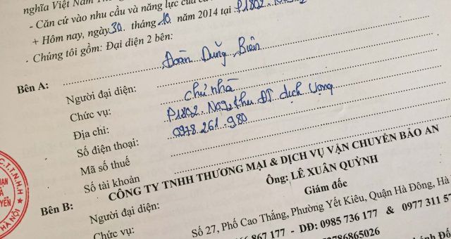 Khách hàng Đoàn Dũng Biên tại Dịch Vọng Cầu Giấy, Hà Nội