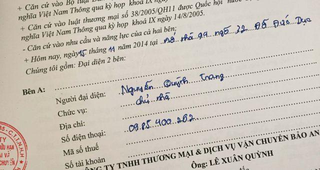 Khách hàng Nguyễn Quỳnh Trang tại Nam Từ Liêm, Hà Nội