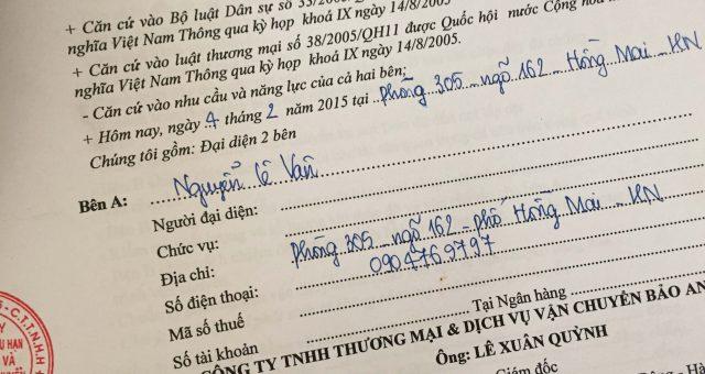 Khách hàng Nguyễn Lê Vân tại Hồng Mai, Hai Bà Trưng, Hà Nội