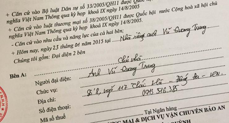 Khách hàng Vũ Quang Trung tại Thái Hà, Đống Đa, Hà Nội