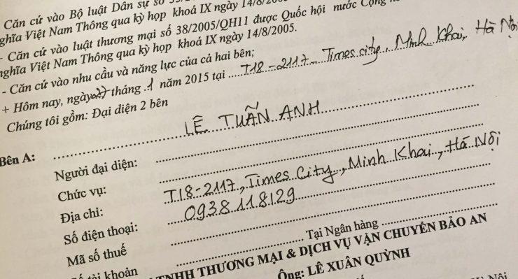 Khách hàng Lê Tuấn Anh tại Times City, Minh Khai, Hà Nội