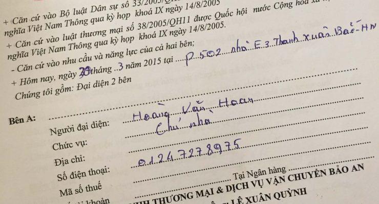 Khách hàng Hoàng Văn Hoan tại Thanh Xuân Bắc, Hà Nội