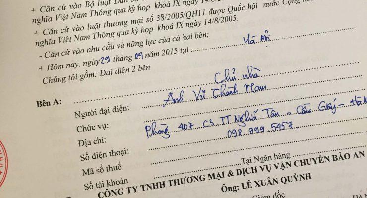 Khách hàng Vũ Thành Nam tại TT Nghĩa Tân, Cầu Giấy, Hà Nội