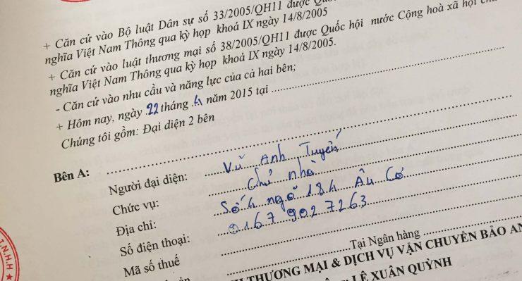 Khách hàng Vũ Anh Tuyến tại Âu Cơ, Tây Hồ, Hà Nội