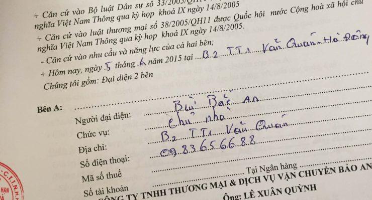 Khách hàng Bùi Bắc An tại Văn Quán, Hà Đông, Hà Nội