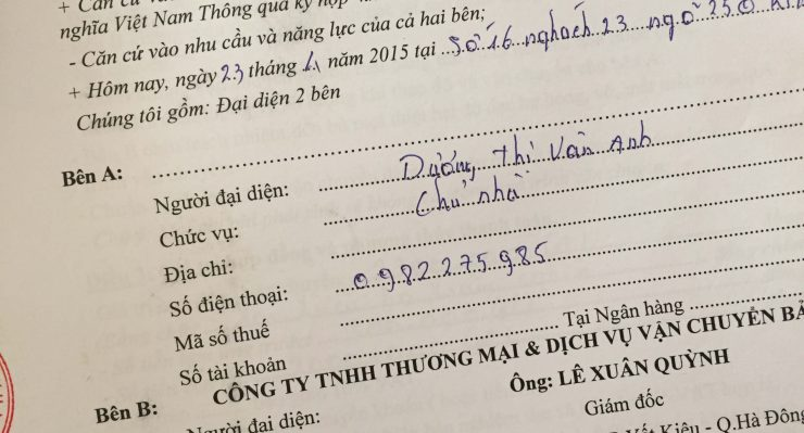 Khách hàng Dương Thị Vân Anh tại Kim Mã, Ba Đình, Hà Nội