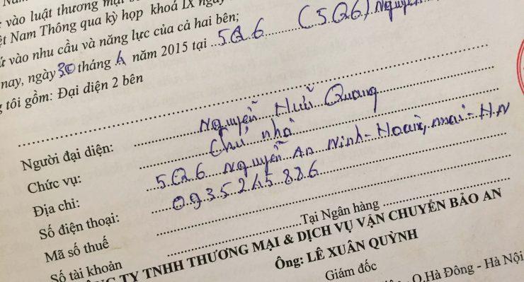Khách hàng Nguyễn Hữu Quang tại Hoàng Mai, Hà Nội